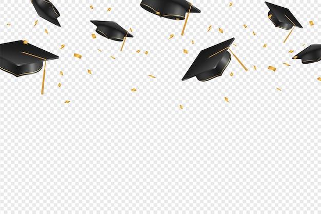 Afgestudeerde caps en confetti op een transparante achtergrond