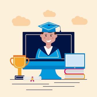 Afgestudeerde jongen in computer met pictogrammen
