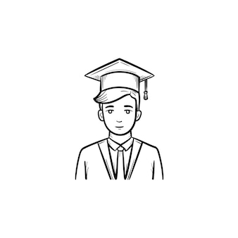 Afgestudeerde student hand getrokken schets doodle pictogram. student dragen afstuderen mantel en pet schets vectorillustratie voor print, web, mobiel en infographics geïsoleerd op een witte achtergrond.