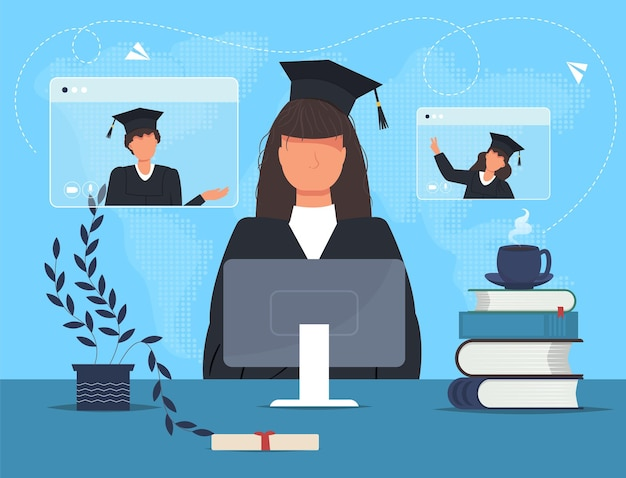Afgestudeerde student in mantel met computer en boeken