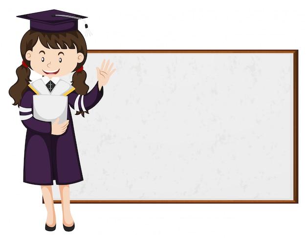 Afgestudeerde student staat bij het bestuur