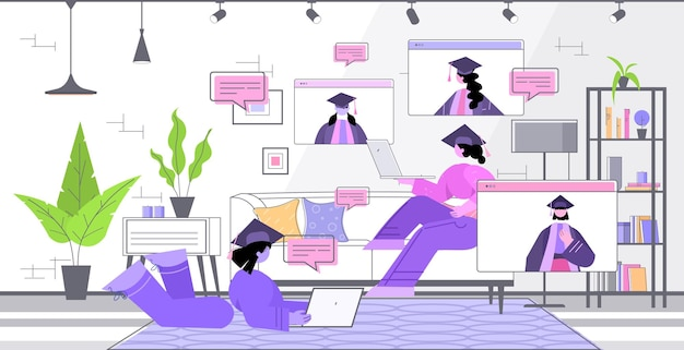 Afgestudeerde studenten bespreken tijdens videogesprek afgestudeerden vieren academisch diploma diploma onderwijs online communicatieconcept woonkamer interieur horizontaal
