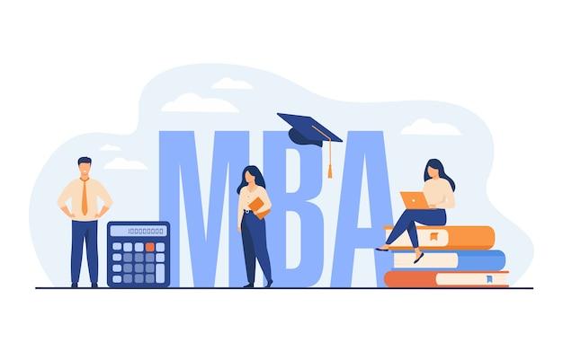 Afgestudeerde studenten die bedrijfskunde en management studeren en een masterdiploma behalen.