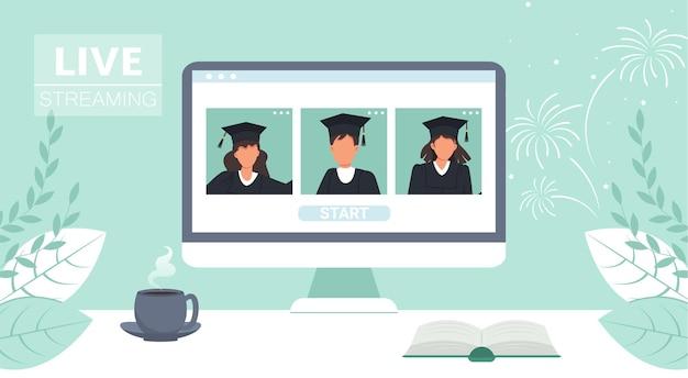 Afgestudeerde studenten in mantel op computerscherm