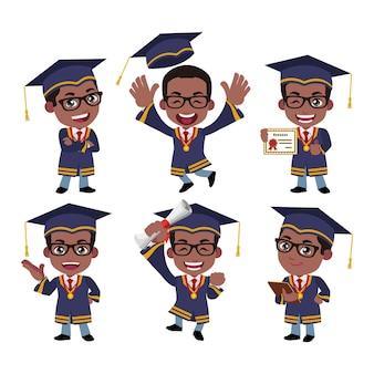 Afgestudeerde studentenpersonages met verschillende poses