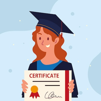 Afgestudeerde vrouw en certificaat