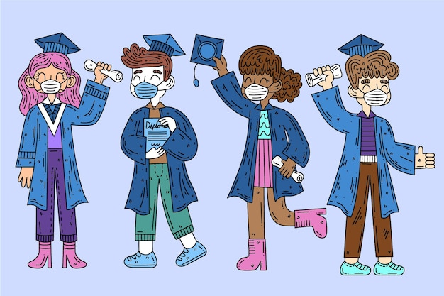 Afgestudeerden dragen medische maskers