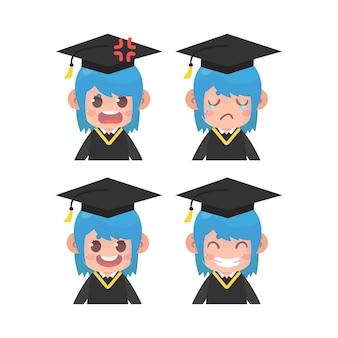 Afgestudeerden gezicht expressie set