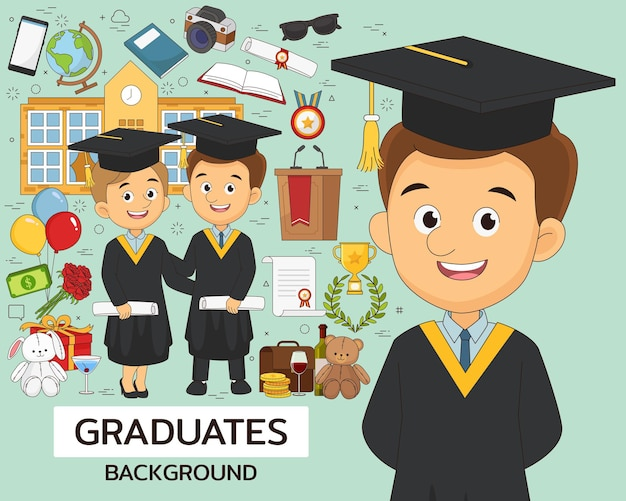 Afgestudeerden illustratie met onderwijselementen