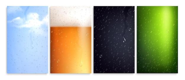 Afgeveegd beslagen glas set van geïsoleerde verticale achtergronden