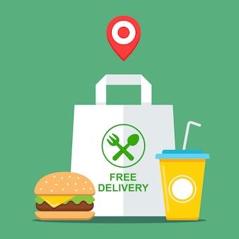 Afhaal fastfood kopen. gratis bezorging van eten. vlakke afbeelding