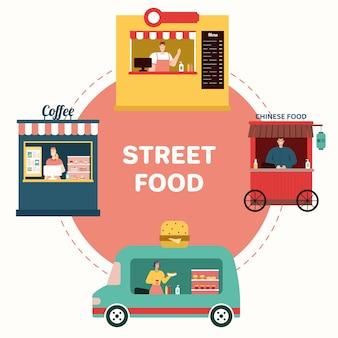 Afhaalmaaltijden. set van café. flat vector illustratie. vector illustratie. straatvoedsel en hygiëne. barista, obers en kopers Premium Vector
