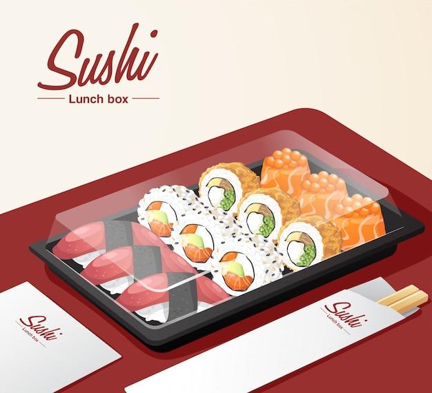 Afhaalmaaltijden sushi set met dienblad, stokjes en servet op rode tafel