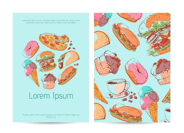 Afhaalmenu-menukaart met fastfood-schetsen