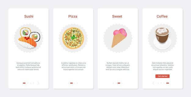Afhaalproductmenu voor fastfoodcafés, ux, ui onboarding mobiele app-paginaschermset