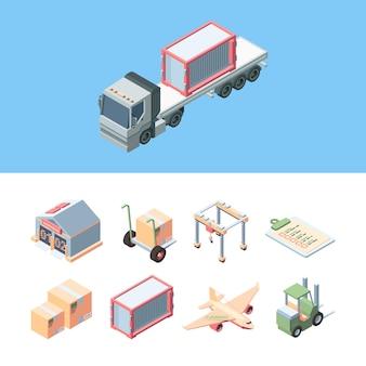 Afleveringsvracht isometrisch instellen. express service van vrachtlevering vrachtwagen, vliegtuig, verzending van pakketten per heftruck naar een magazijn, vulverklaring, bewegende kraan.