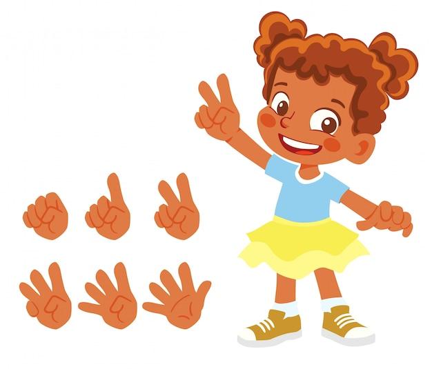 African american fingers tonen cijfers. meisje vinger tellen