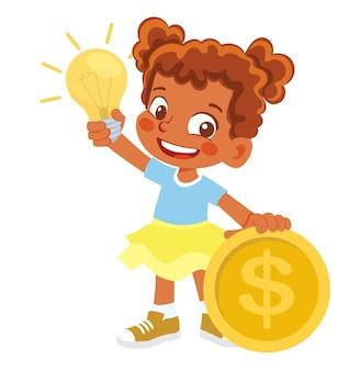 African american girl elektrische lamp en geld te houden