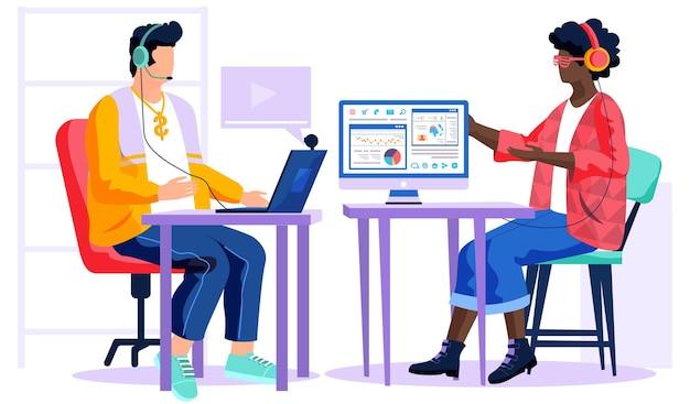 African american girl werkt met computer