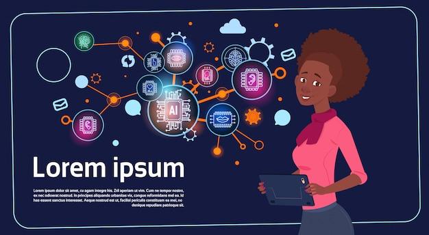 African american zakenvrouw presentatie stand stand over digitaal scherm met grafieken en grafiek