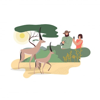 African wildlife photographers flat characters