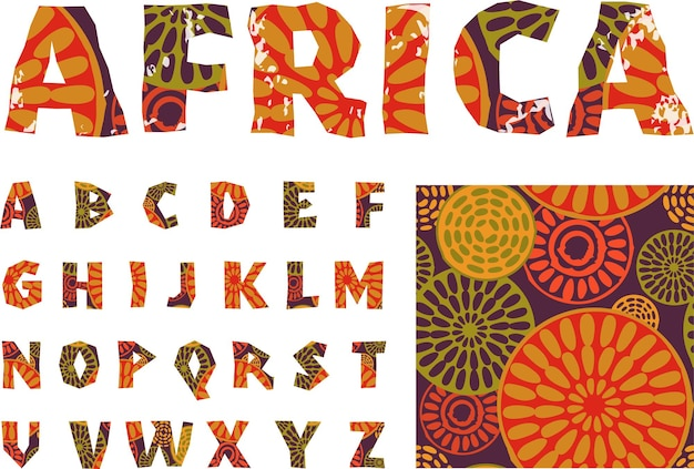 Afrika. alfabet en patroon
