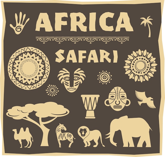 Afrika en safari pictogram
