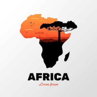 Afrika kaart logo sjabloon