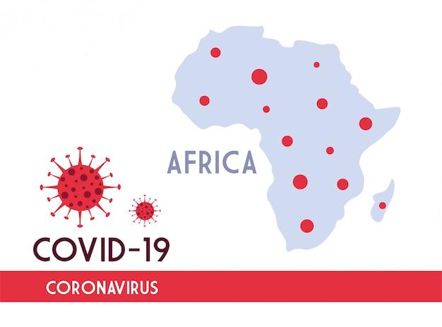 Afrika kaart met de voortplanting van de covid 19