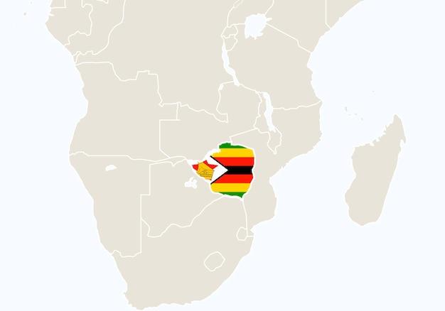 Afrika met gemarkeerde kaart van zimbabwe. vectorillustratie.