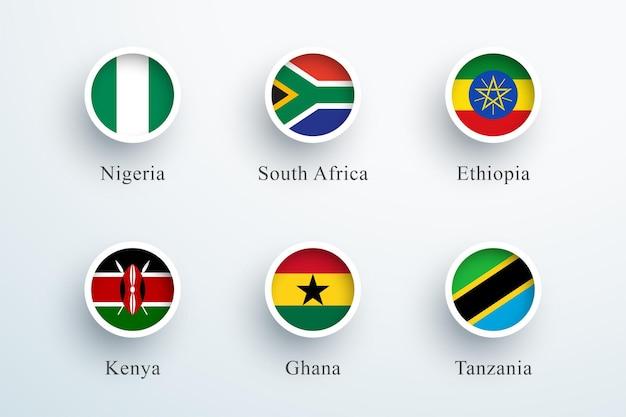 Afrika vlag set ronde 3d knop cirkel pictogrammen