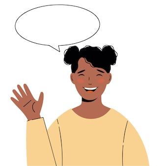 Afrikaans-amerikaans mooi meisje. illustratie van zwarte vrouw met een groetgebaar. vector illustratie
