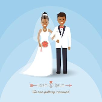 Afrikaans bruidegom en bruidpaar op huwelijksdag.