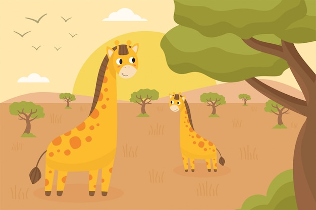 Afrikaans en safarilandschap met schattige gelukkige giraffen.