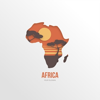 Afrikaans kaartlogo met bomen bij zonsondergang
