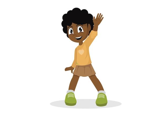 Afrikaans meisje steekt haar hand uit om er vijf te geven.