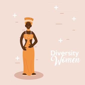 Afrikaans vrouwenbeeldverhaal met traditioneel doekontwerp, het thema van culturele en vriendschapsdiversiteit