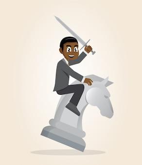 Afrikaans zakenman berijdend schaakpaard met een zwaard.