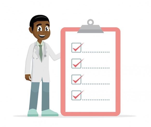 Afrikaanse arts man die controlelijst.