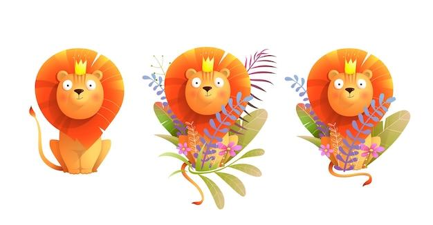 Afrikaanse baby leeuwenkoning in de natuur clip art collectie cartoon aquarel stijl leeuw voor kinderen