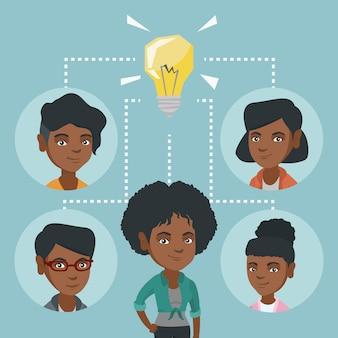 Afrikaanse bedrijfsvrouwen die bedrijfsidee bespreken.