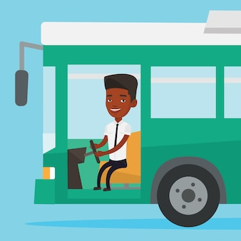 Afrikaanse buschauffeurzitting bij stuurwiel.
