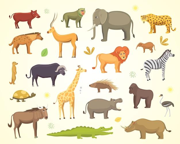 Afrikaanse dieren cartoon set. olifant, neushoorn, giraf, cheetah, zebra, hyena, leeuw, nijlpaard, krokodil, gorila en anderen.