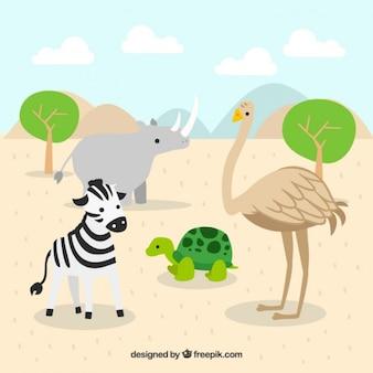 Afrikaanse dieren in een landschap
