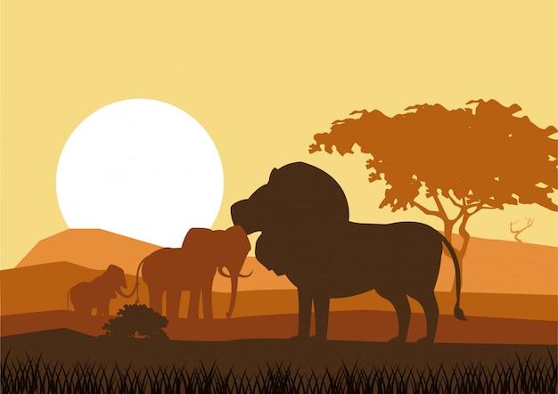 Afrikaanse dieren silhouetten