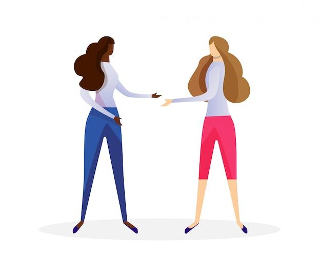 Afrikaanse en kaukasische jonge vrouwelijke vriendenvergadering