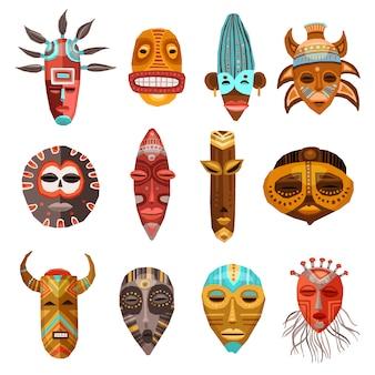 Afrikaanse etnische tribale maskers instellen