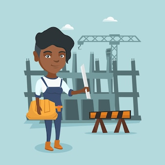 Afrikaanse ingenieur die bouwvakker en blauwdruk houdt.