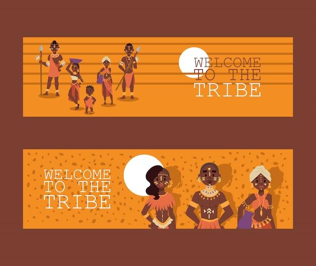 Afrikaanse inheemse familie stam mensen
