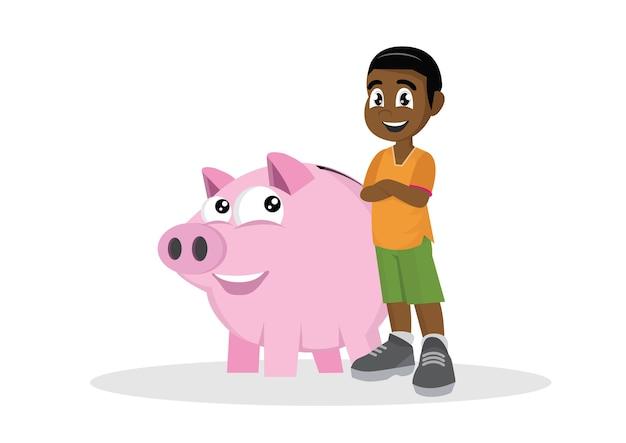 Afrikaanse jongen en zijn spaarvarken.